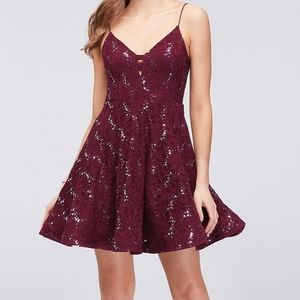 Speechless Floral Lace Sequin A-Line Dress NWT